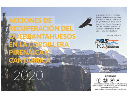 Programa de acciones de Conservación del Quebrantahuesos en la Cordillera pirenaica y cantábrica 2020.